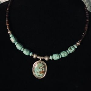 VINTAGE SS/ turquoise Navajo  heishi necklace